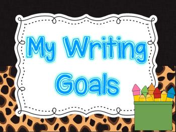 Writing Goal Clip Chart and Checklist (Safari/Animal Print Theme)