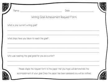 Writing Goal Clip Chart for Students - Aligned with 3rd Grade TEKS