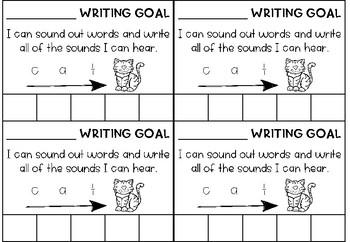 Writing Goals Desk Slips x 5 for Kindergarten / Prep / Reception