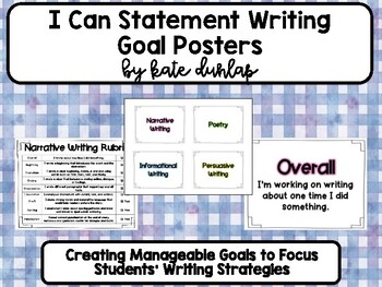 Writing Goal I Statement Posters