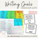Writing Goals - Reminder Slips | Editable