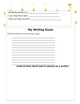 Writing Goal Setting for Students (Lucy Caulkins Units)