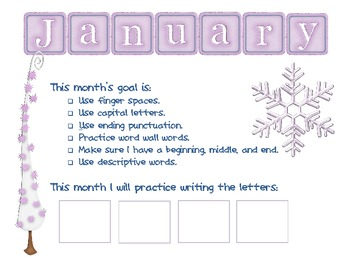 Writing Goals Board w/ monthly recording sheets