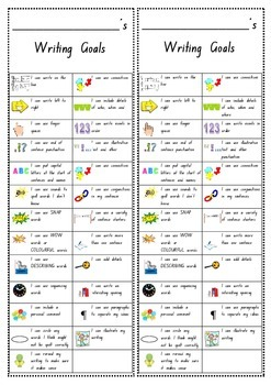 Writing Goals Bookmark Kindergarten Foundation Checklist