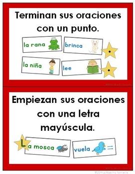 Writing Goals Bulletin Board / Clip Chart (Spanish)