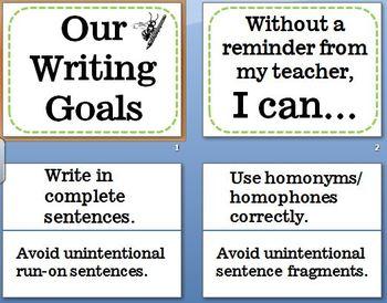 Writing Goals Bulletin Board Common Core Aligned