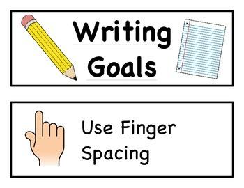 Writing Goals Chart Cards