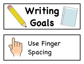 Writing Goals Chart Cards