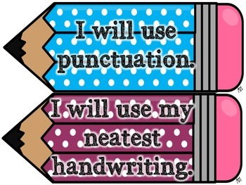 Writing Goals Chart Polka Dot Pencil Themed!