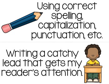 Writing Goals Chart Signs