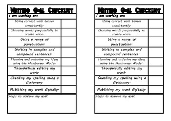 Writing Goals Checklists