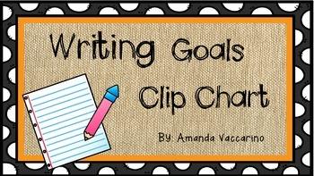 Writing Goals Clip Chart-Burlap Theme