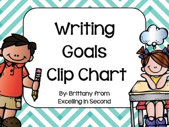 Writing Goals Clip Chart - Gray and Turquoise Chevron
