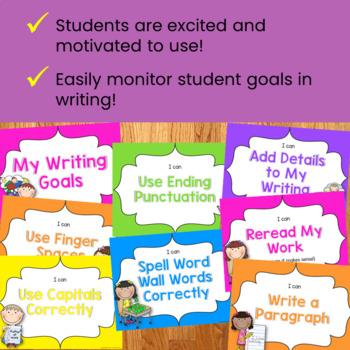 Writing Goals Clip Chart - Neon Theme