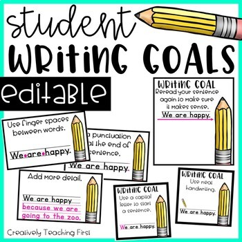 Writing Goals -EDITABLE