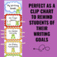 Writing Goals Clip Chart - Frog Theme