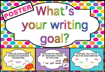 Writing Goals Poster & Peg Display