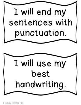 Writing Goals Printables