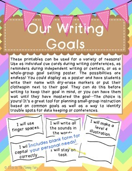 Writing Goals Printables