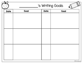 Writing Goals   Self-monitoring writing rubric & monthly journal
