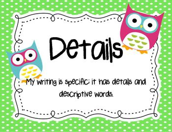 Writing Goals Signs {Owl Themed}