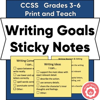Writing Goals Sticky Notes