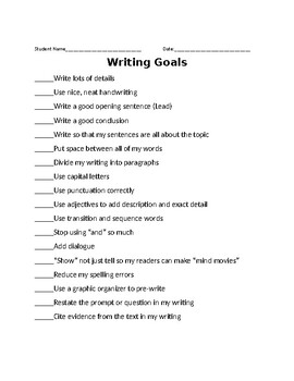Writing Goals for Elementary
