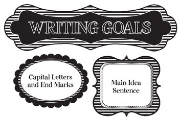 Writing Goals (wall-hanging and tags)