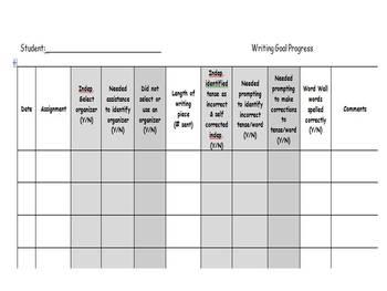 Writing Goals_Progress Monitoring Sheet