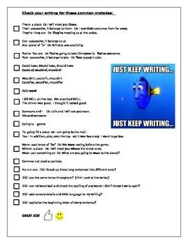 Writing Grammar Checklist