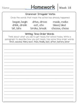 Writing/Grammar Homework for a Year