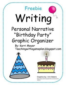 Writing Graphic Organizer Personal Narrative