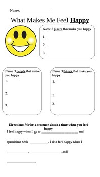 Writing Graphic Organizer (What Makes Me Happy)