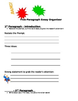 Writing Graphic Organizer for a 5 Paragraph Essay Bing, Bang, Boom!