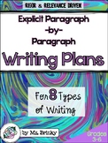 Writing Graphic Organizers Plans for 8 Different Genres