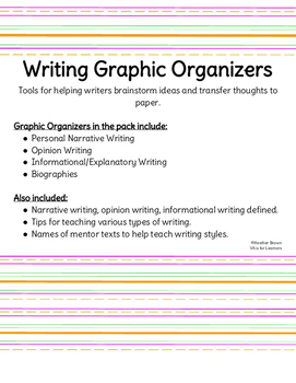 Writing Graphic Organizers and Mentor Texts