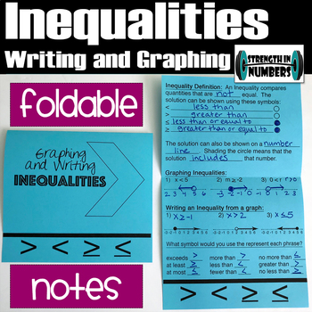 Graphing Inequalities Foldable Teaching Resources Teachers Pay