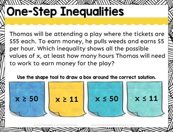 Writing, Graphing, and Solving Inequality Digital Tasks with BOOM Deck Cards