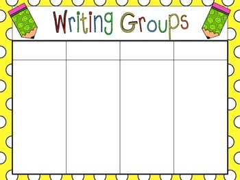 Writing Groups Organizer and Schedule