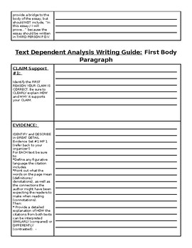 Writing Guide for Compare and Contrast Text Dependent Analysis