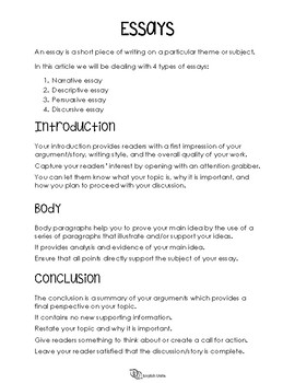Writing Guide for Essays