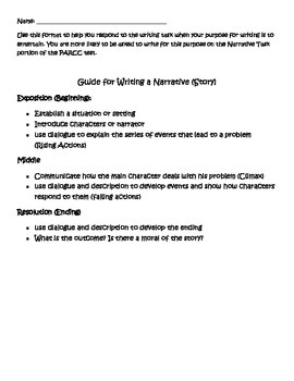 Writing Guide for Narrative Prose Constructed Response with Rubric