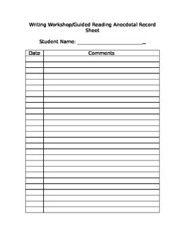 Writing/Guided Reading Record Form