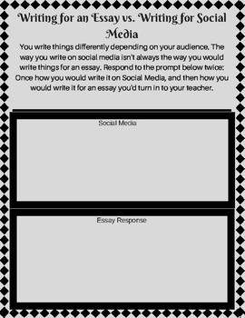 writing handout essay writing vs social media writing  tpt