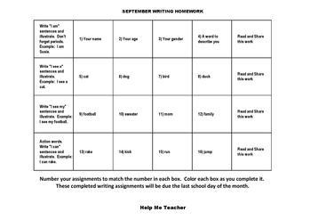 Kindergarten Writing Homework Calendar - September - Help Me Teacher