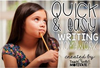 Writing Homework Freebie