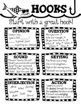 Writing Hooks Leads! ~ 6 Hook Posters and Student Writing Folder Resource!
