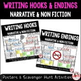 Writing Hooks & Endings BUNDLE: Posters & Scavenger Hunts