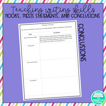Writing Hooks, Thesis Statements, and Conclusions