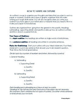 Writing - How to Write an Outline Handout